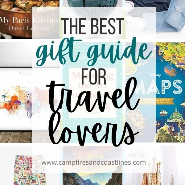 collage featuring gifts for travel lovers plus title